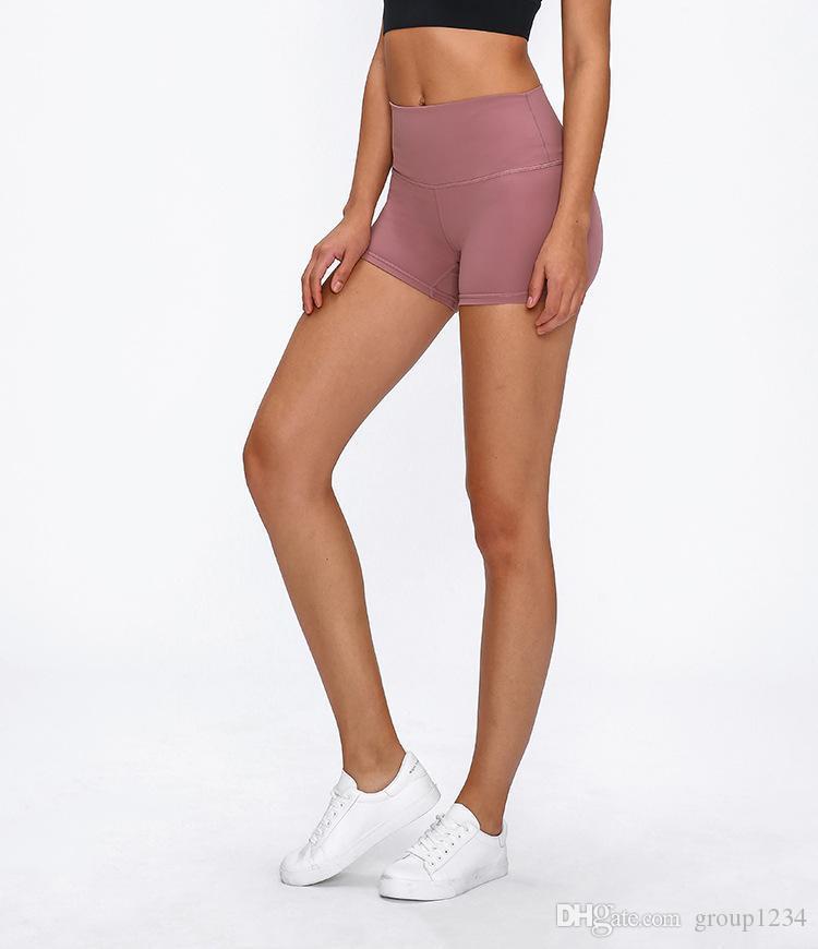йога шорты LU сплошной цвет высокая талия женщины Спорт Леди общий бег шорты тренажерный зал носить бриджи леггинсы эластичный фитнес