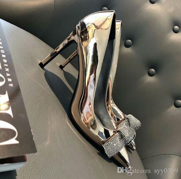 Mujer estilete puntas de los pies Bombas de deslizamiento boca baja de diamantes boda de la tarde de Bowtie del partido de baile zapatos de la señora zapatos cómodos de diseño
