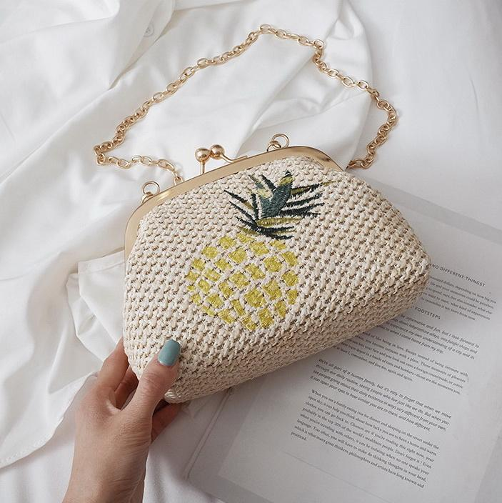 New lock straw weaving printing chain women designer shoulder crossbody messenger bags lady fashion casual beach purses no1569