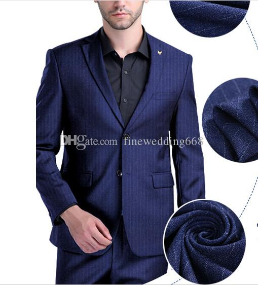 Traje fresco de tela escocesa Padrinos de boda Muesca Solapa Novio Boda Tuxedos Trajes de hombre Boda / Baile de graduación / Cena Best Man Blazer (chaqueta + corbata + pantalones) 05