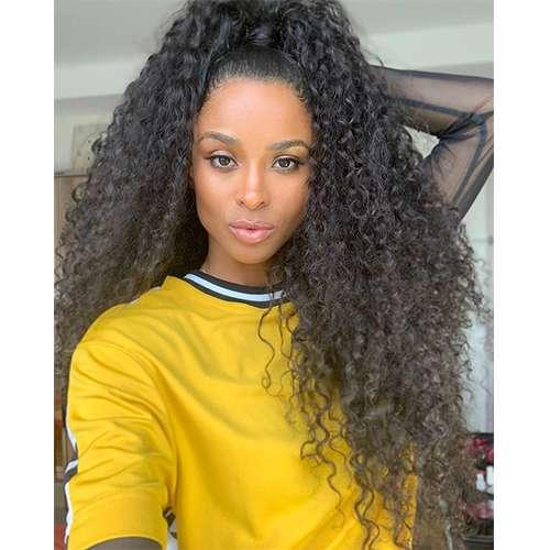 Ciara coleta alta bollo del pelo humano del 360 de encaje frontal peluca 150density pre desplumado rizado rizado pelucas de pelo humano para las mujeres negras