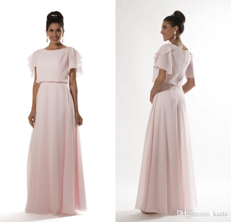 Light Pink Long Modest Bridesmaid Dresses 2019 With Flutter Sleeves A-line Floor Length Formal Evening Women Wedding Party Dress