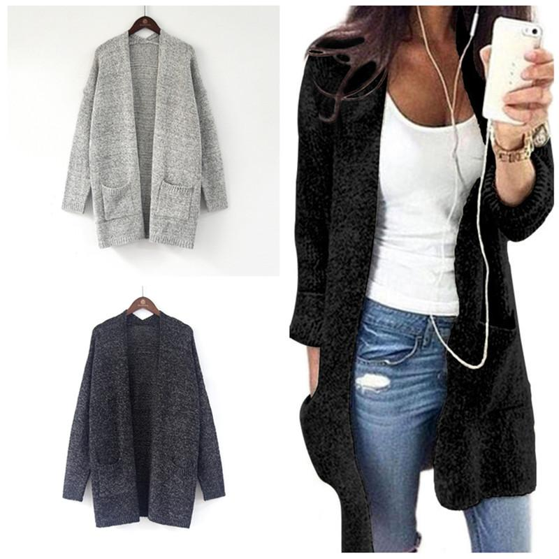 Womens Fur Long Sleeve Knitted Sweater Top Loose Cardigan Outwear Coat Oversized