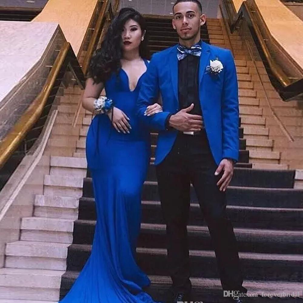 Haute Qualité Marque Nouveau Bleu Royal De Mariage Marié Smokings Entaillé Revers Marié Deux Pièces (Blazer + Pantalon) Costumes D'Affaires