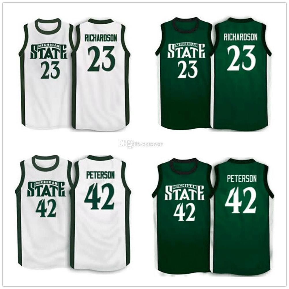 # 23 # 42 Jason Richardson Morris Peterson Michigan State Spartans baloncesto retro de la universidad jerseys para hombre cosido encargo cualquier Número Nombre