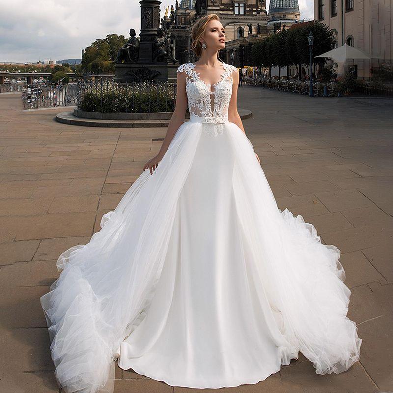 2 In 1 Mermaid Wedding Dress 2019 Satin Sexy Beaded V-neck Detachable Train Bride Gown Vestido De Noiva Customized wedding Gowns