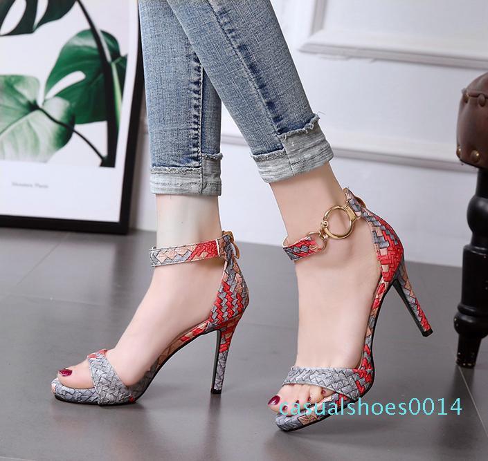Rote untere hohe Absätze schöne Farbe gedruckt gewebt gestrickt Sandalen Frauen Sommer 9cm Größe 34 bis 39 C14