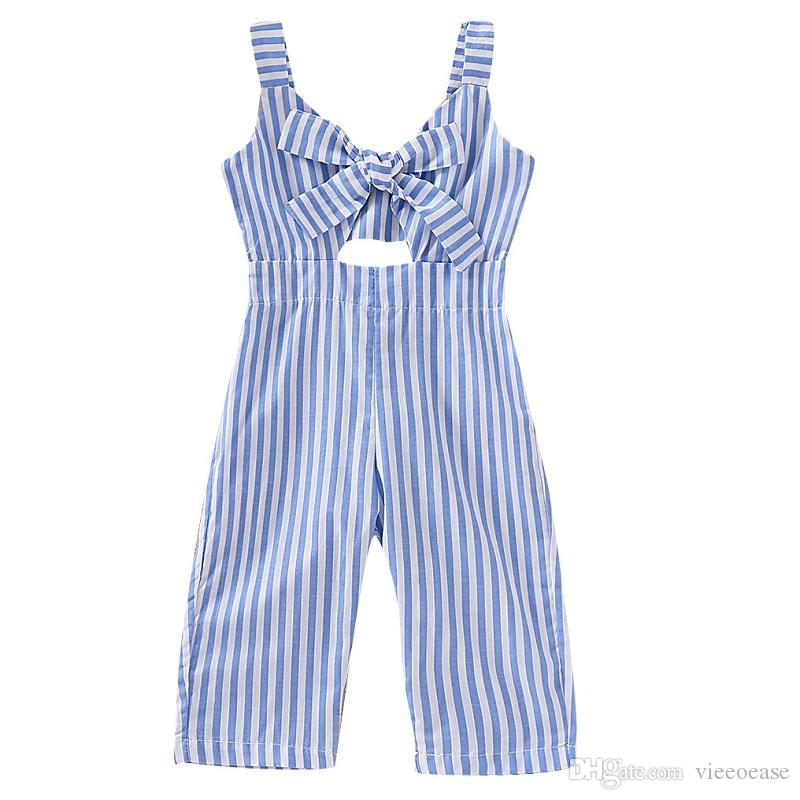 Vieeoease Girls Overalls INS Plaid Kids Clothing 2019 Summer Fashion Sleeveless Vest Bow Stripe Jumpsuits CC-340