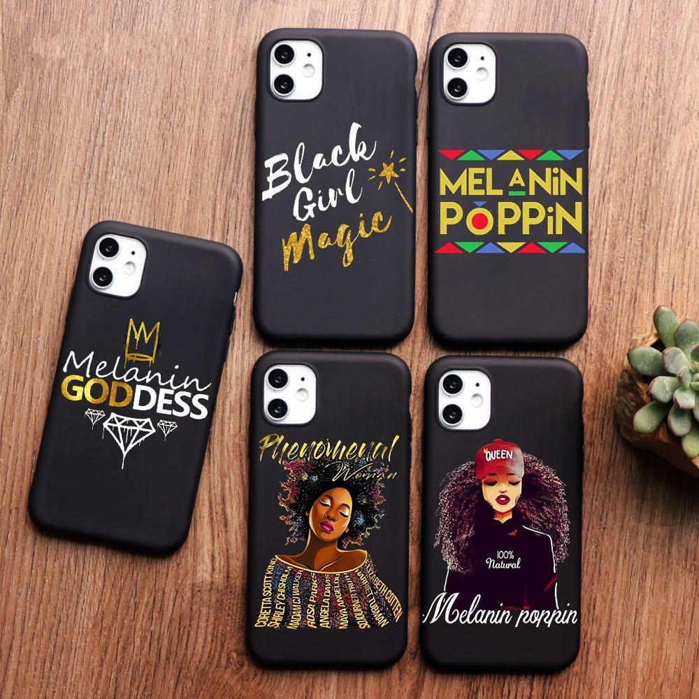 Afro Black Girl magia regina melanina Poppin progettato telefono iPhone Per il caso di 11 PRO MAX XS MAX XR X 5 5S 6S 6 8 7 Plus SE 2020 TPU