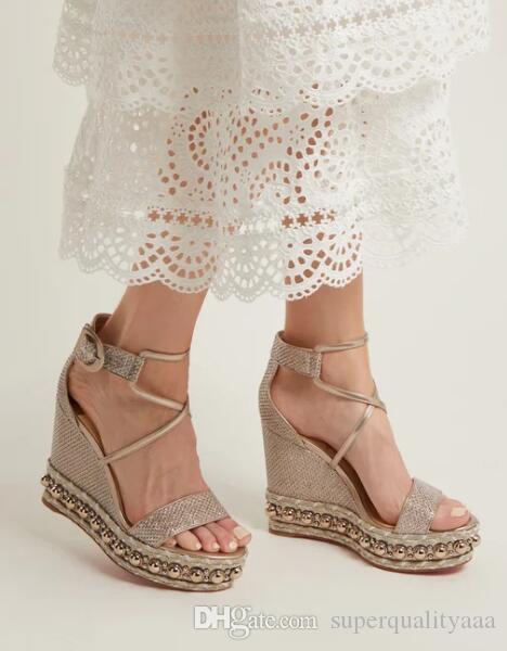 senhoras couro ouro férias de verão sandálias para mulheres moda vermelho cunhas chocazeppa fundo saltos altos tornozelo cinta sensuais saltos altos partido dres