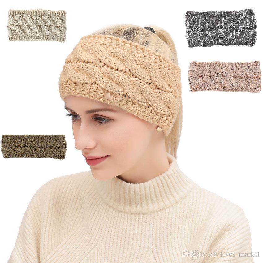Tricoté Bandeau 20 Couleurs Hiver Hiver Chaud Head Wrap Hairband Acrylique Crochet De Mode Bande De Cheveux Beanie Party Bandeau AN2580