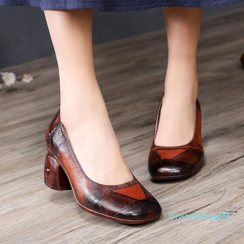 Skillful2019 Antik Dönüş Yaz Gerçek Deri inek derisi Sığ Ağız Grace Tek Ayakkabıları ile Özel şekilli
