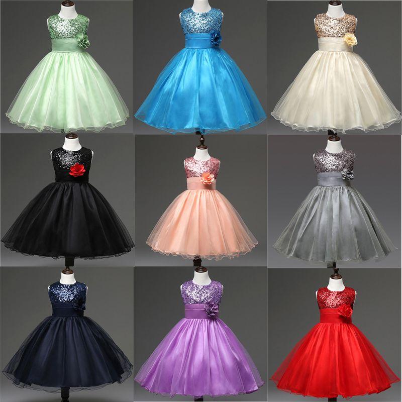 Enfants Filles Robes de mariée Princesse Robe pailletée 11+ Bow Tie Appliqued Robe fermeture à glissière invisible dentelle robe de soirée maille TUTU 3-9T