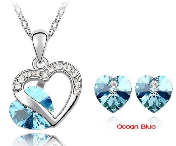 2019 New autentico cristallo Swarovski a forma di cuore classica degli orecchini della collana di gioielli da sposa set di gioielli da sposa fidanzamento