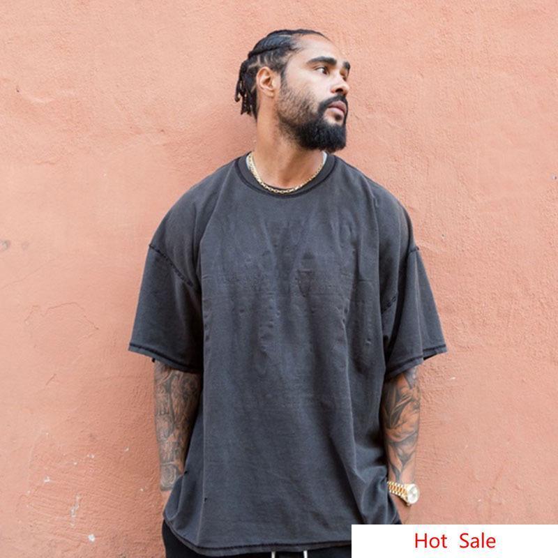 FOG lavada suelta camisetas para los hombres High Street Blackgray Vintage Tees manera miedo sólido de dios camisetas