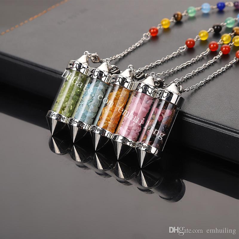 10 Unids Deseo Botella Colgante Pendulum Piedra Preciosa Curación Chips de Piedra Natural en Vidrio Vial W / 7 Granos de Chakra Cadena Péndulo Dowsing Amuleto