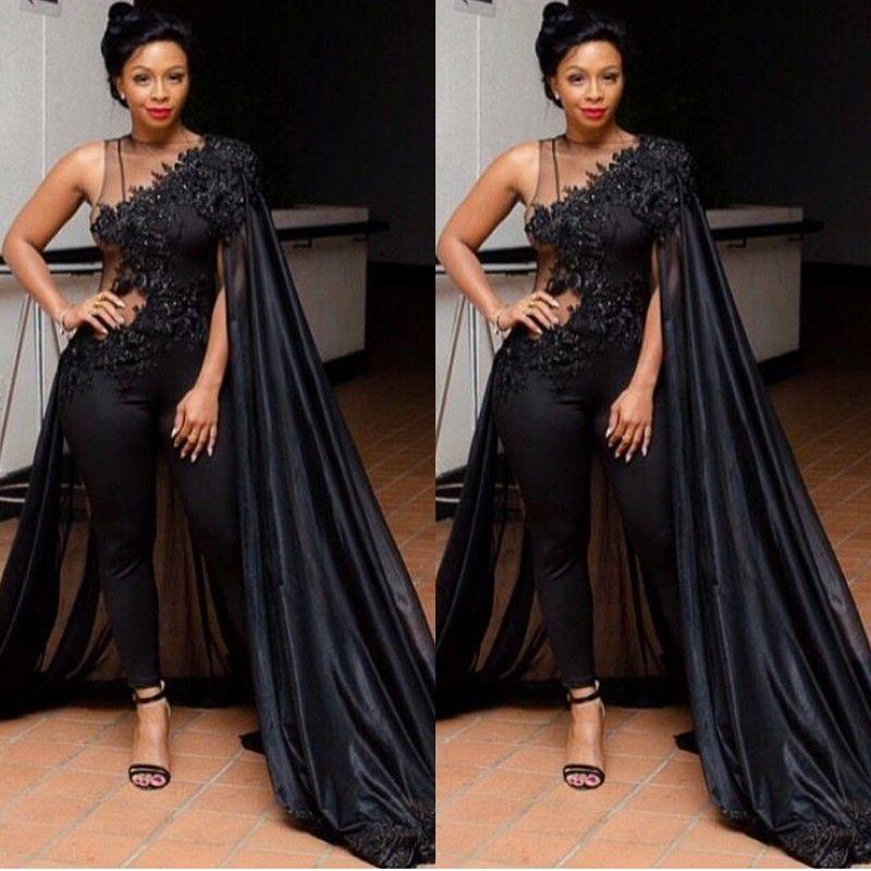 Сексуальные черные иллюзии Passuits вечерние платья с накидкой плюс размер Южная Африка кружевной аппликации выпускных платья женщин формальная одежда