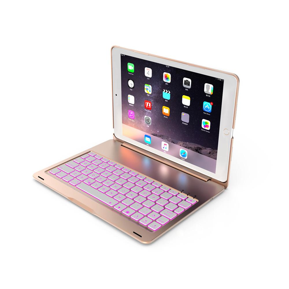 For Apple iPad 10.2 inch Tablet Luxury Aluminum Folio Bluetooth Keyboard Protective Case Stand Cover with 7 Color Adjustable Backlit