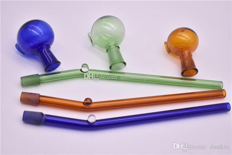 Composition amovible en deux parties 14cm verre coloré brûleur à huile verre Pipes Pipes eau facile à la livraison gratuite propre