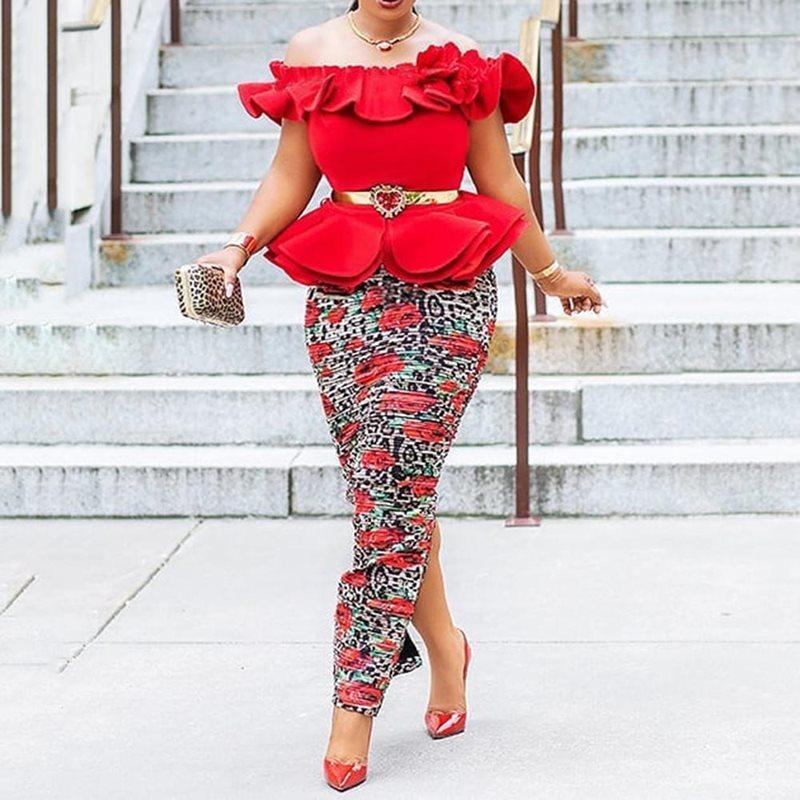 Femmes Africaines Parti robe longue rouge sexy élégant Plus Size Bodycon Off épaule Falbala de Split Femme Soirée Club Maxi Robes MX200319