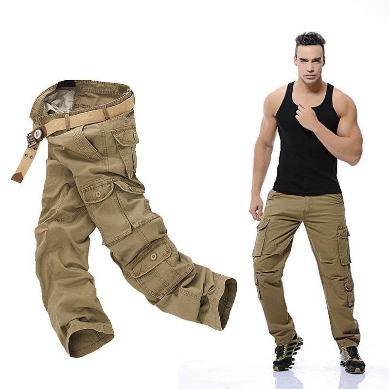 2019 Autumn Mens Cargo Pants armygreen grandi tasche decorazioni casual Facile Lavare pantaloni Maschio Tactical Pants Size 28 44 46 CJ191201