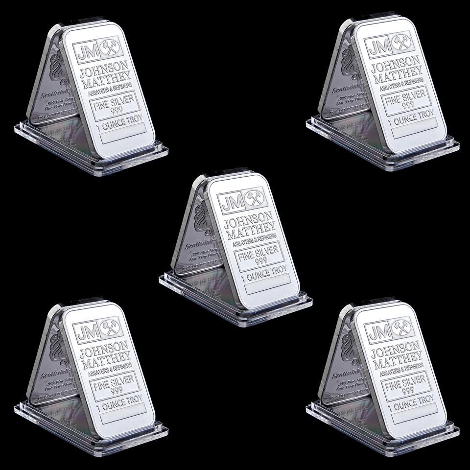 5pcs Johnson Matthey JM Badge 1OZ argent plaqué de 50 mm X 28mm American Bar décoration avec numéro de série différent