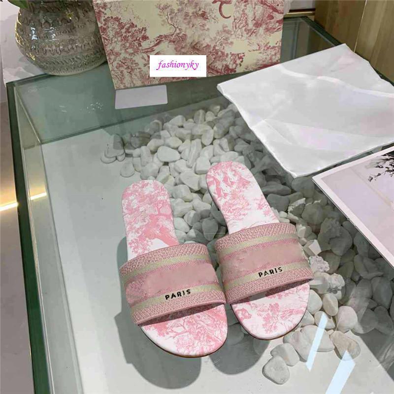 Boîte d'origine Dazzle Fleurs femmes Designer chaussons à fond plat broderie florale Sandales flip Brocade Slipper Flops