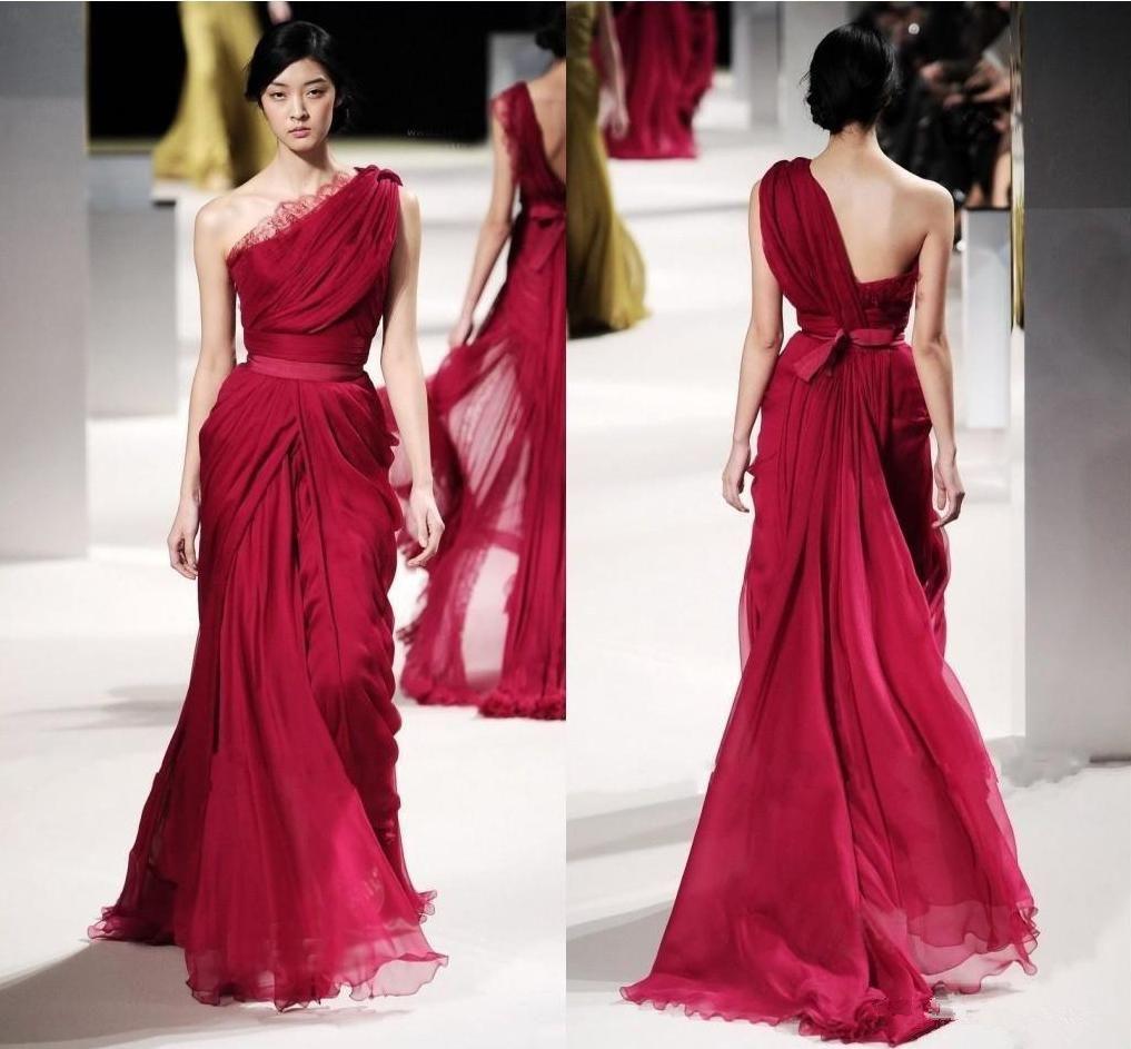 elie saab dresses Red Evening Celebrity Dresses Lace Applique One Shoulder Long Pleat Chiffon Sequins Runaway Prom Dress Arabic Formal Gowns