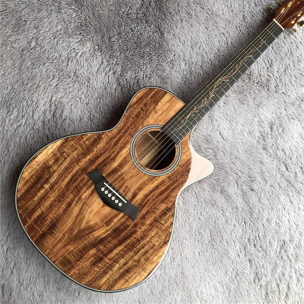Vintage Kesit Chaylor K24 Koa halk gitar, K24ce akustik elektrik Koa ahşap halk gitar, ücretsiz kargo