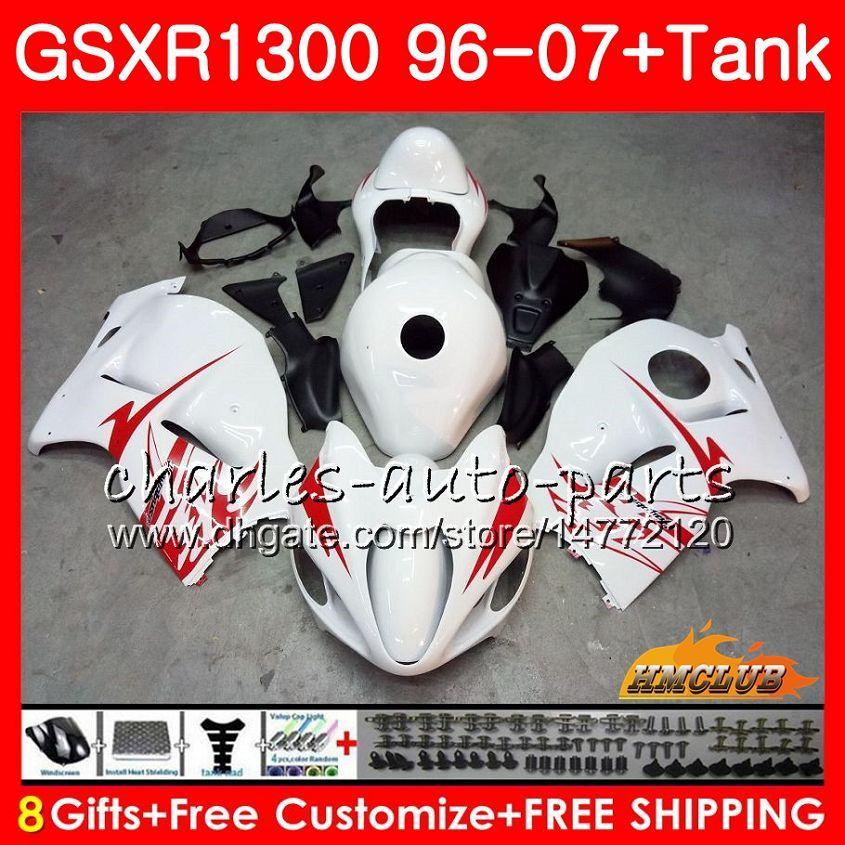 키트 SUZUKI Hayabusa GSX-R1300 용 1996 1997 광택 화이트 1998 2007 24HC.6 GSXR 1300 GSXR1300 96 97 98 99 00 01 02 03 04 05 06 07 페어링