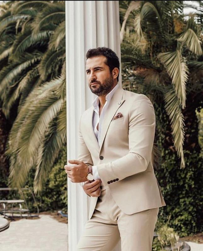 Costume Homme bege casamento smoking noivo desgaste Blazer homens de negócios Ternos Últimas Jacket Pants design 2 Pieces Blazer masculino