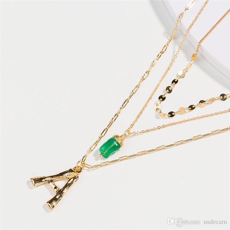 26 A-Z Английский Начальные ожерелье Золотые цепочки Исходное письмо ожерелье Многослойные Choker женщины ожерелье летом хип-хоп мода ювелирные изделия