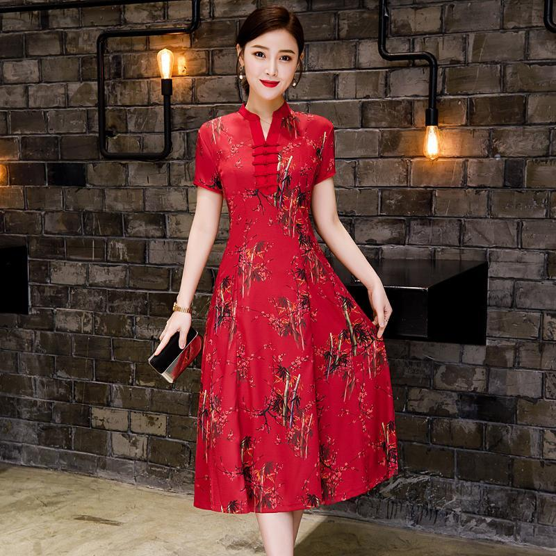 Сверхразмерные размер 3XL красный китайский свадьба невесты платье цветок принт женщины элегантный вечернее платье Восточное шоу Чонсам