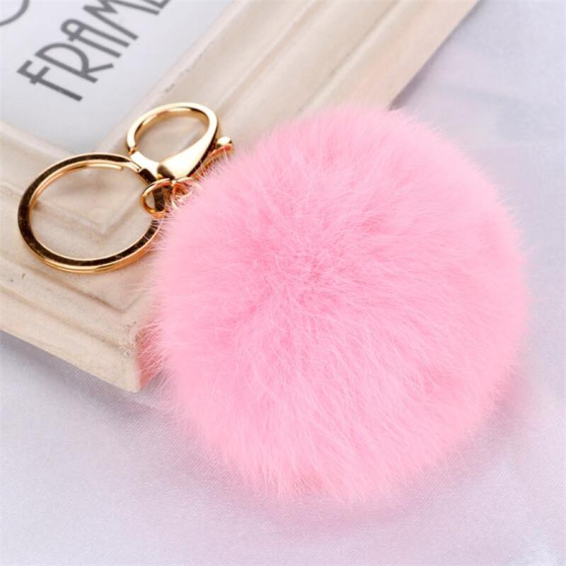 Christmas Gift Real Rabbit Fur Ball Plush Fuzzy Fur Key Chain POM POM Keychain Car Bag Keychain Key Ring Pendant Jewelry