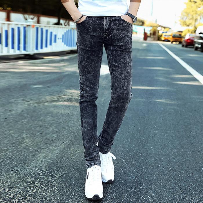 QNPQYX Nuove casuale fiocco di neve degli uomini Skinny jeans grigio del denim dei jeans di nuovo modo di uomini dei pantaloni della matita Slim Skinny lungo