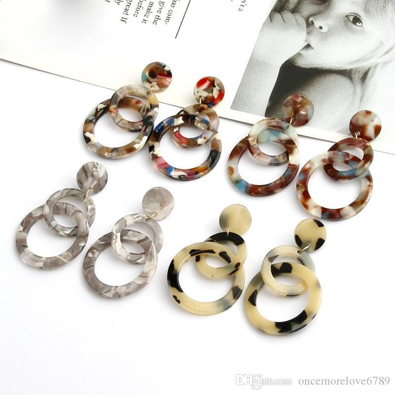 Fashion Colorful Leopard Acrylic Dangle Earring For Women Double Round Geometry Resin Statement Earrings Party Wedding Jewelry