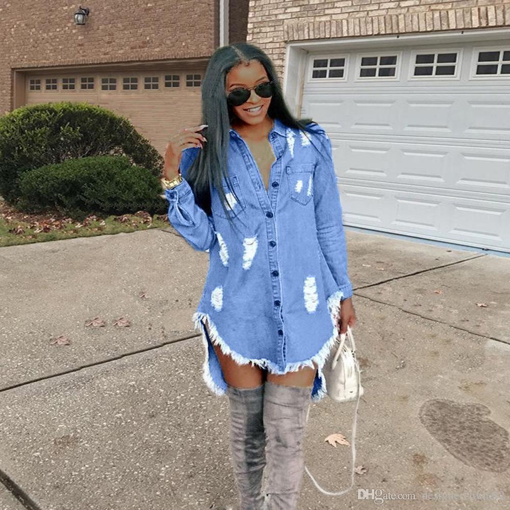 Fashion Casual Fall Women Long Sleeves Buttons Ripped Denim Club Bodycon Dress