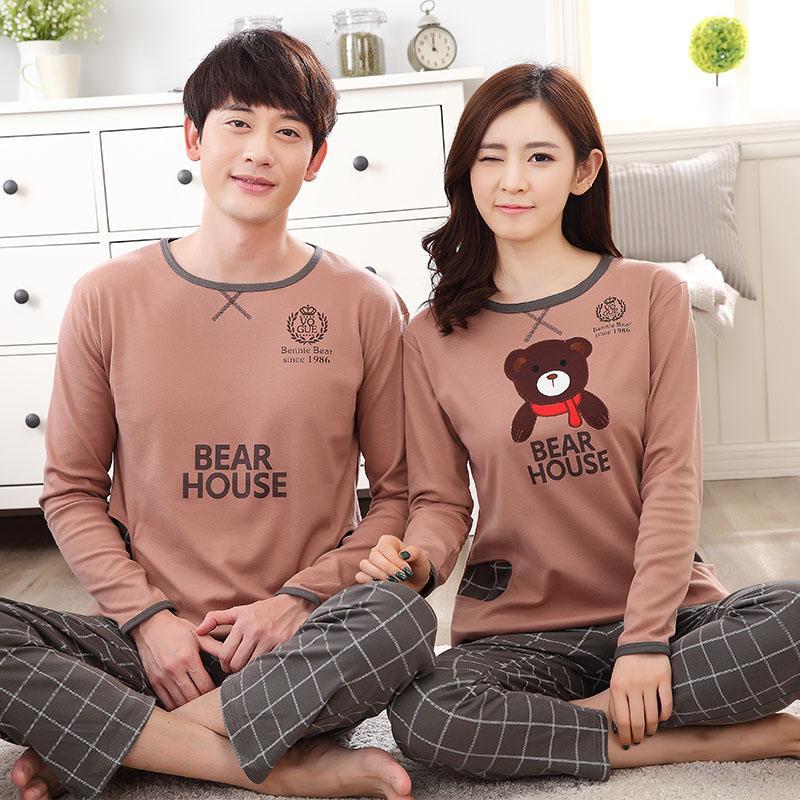 Damen Nachtwäsche Hohe Qualität 100% Baumwolle Paar Pyjama Sets Langarm Cartoon Womens Pyjamas Set Lässige Indoor Kleidung Pyjamas Frauen