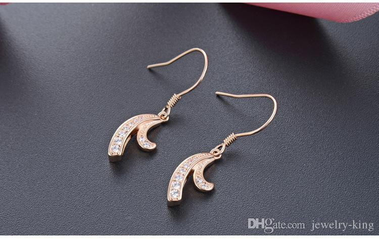 Высокое качество S925 Sterling женские падения серебряные серьги женщин серебро CZ серьги кубического циркония серебряный крюк серьги ушные DDS2