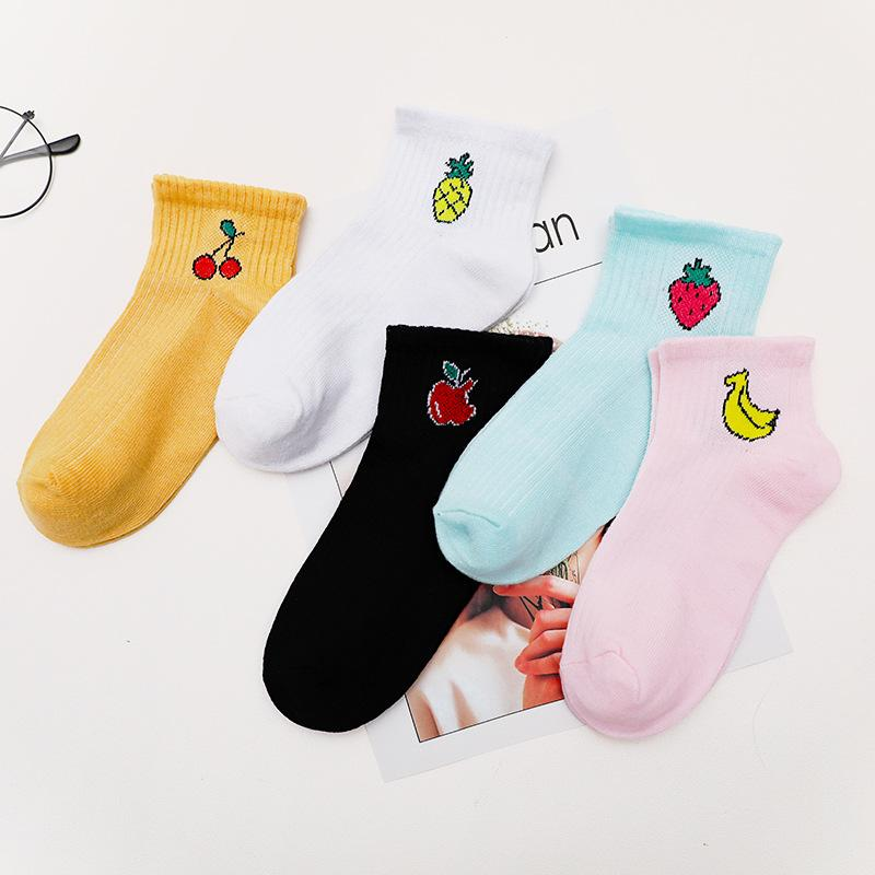 Female Korean Fruit Socken Kurz Frauen Boots-Socken Harajuku Großhandelsbaumwoll Rosa Dropship Kawaii nette Muster weichen Sox