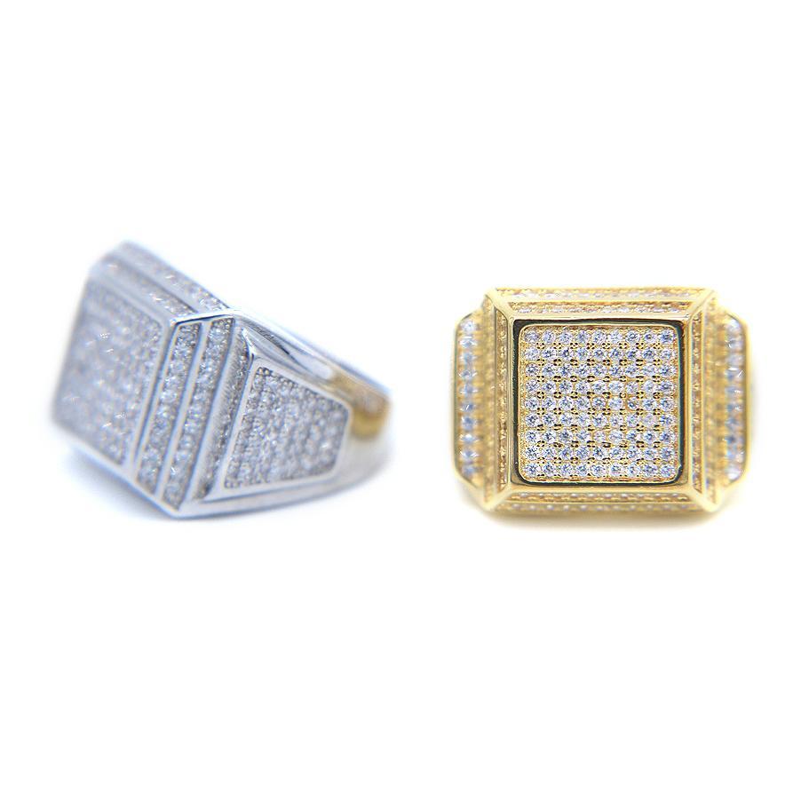 Hip Hop 2017 Nuovo colore oro per gli uomini Gioielli di alta qualità di lusso Cubic Zirconia di cristallo Wedding Fidanzamento Anello C19041704