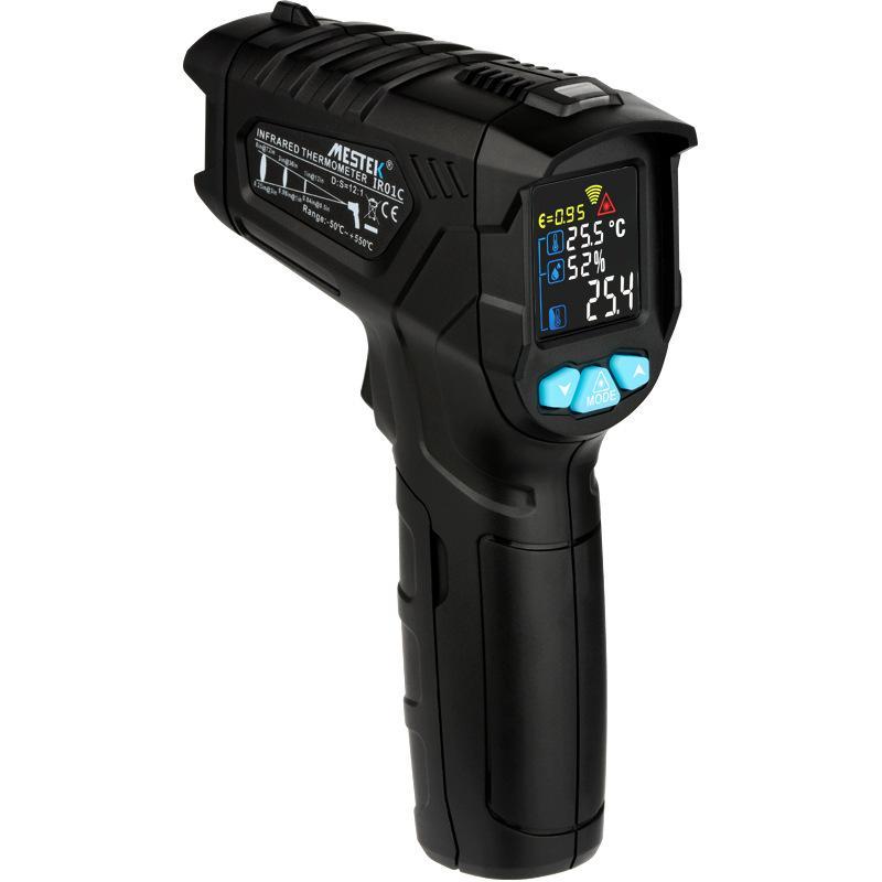 Termômetro digital medidor de umidade termômetro infravermelho higrômetro medidor de pirômetro Pirômetro de Tela LCD de Alta / Baixa Alarme (frete grátis)