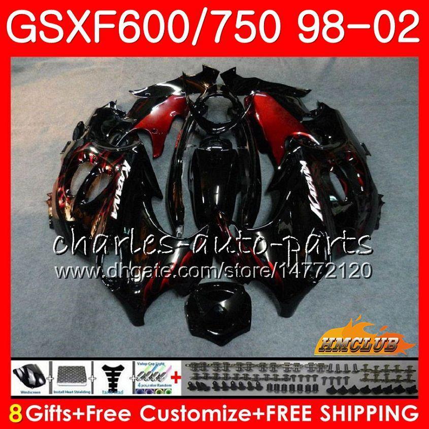 Suzuki katana gsxf 750 600 GSXF600 98 99 00 01 02 2HC.12 GSX750F GSX600F GSXF750 1998 1999 2000 2001 2002 Red Flames Fairing Kit