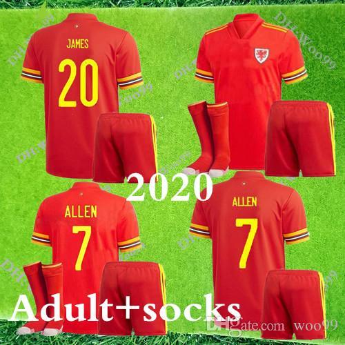 2020 galles soccer jersey kit adulte + chaussettes 2020 galles kits chemise de football BALE JAMES de pied RAMSEY Maillot Camisetas de pied