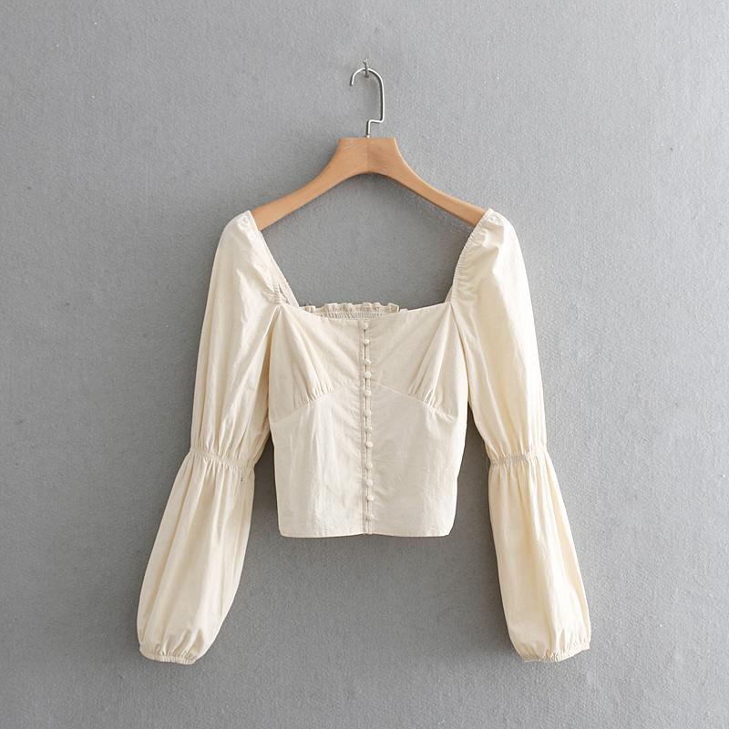 2019 mulheres tribunal de estilo quadrado colarinho casuais curta Blusa mulheres retro sopro manga elástica blusas chemise chiques encabeça LS3273