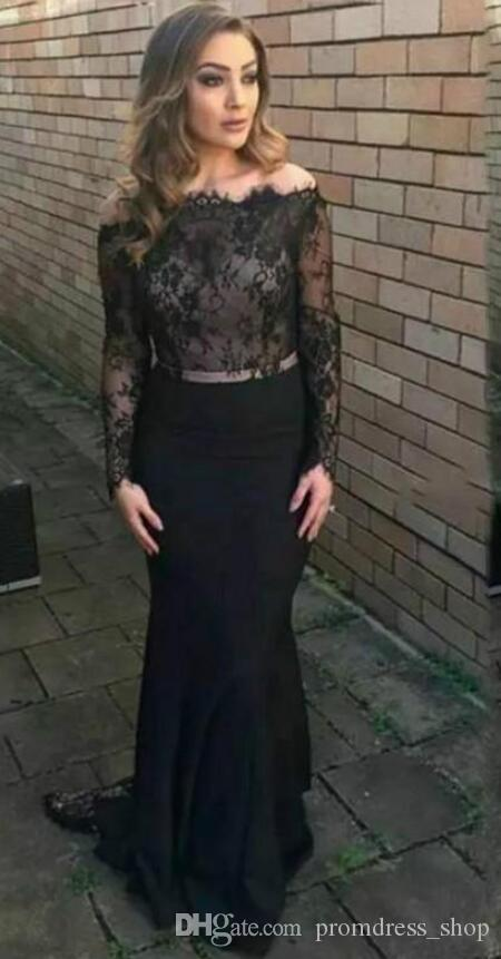 New Bateau Mermaid Lace Evening Dresses Sheer Long Sleeve Plus Size Vestidos De Festa Party Dress Prom Formal Pageant Celebrity Gowns