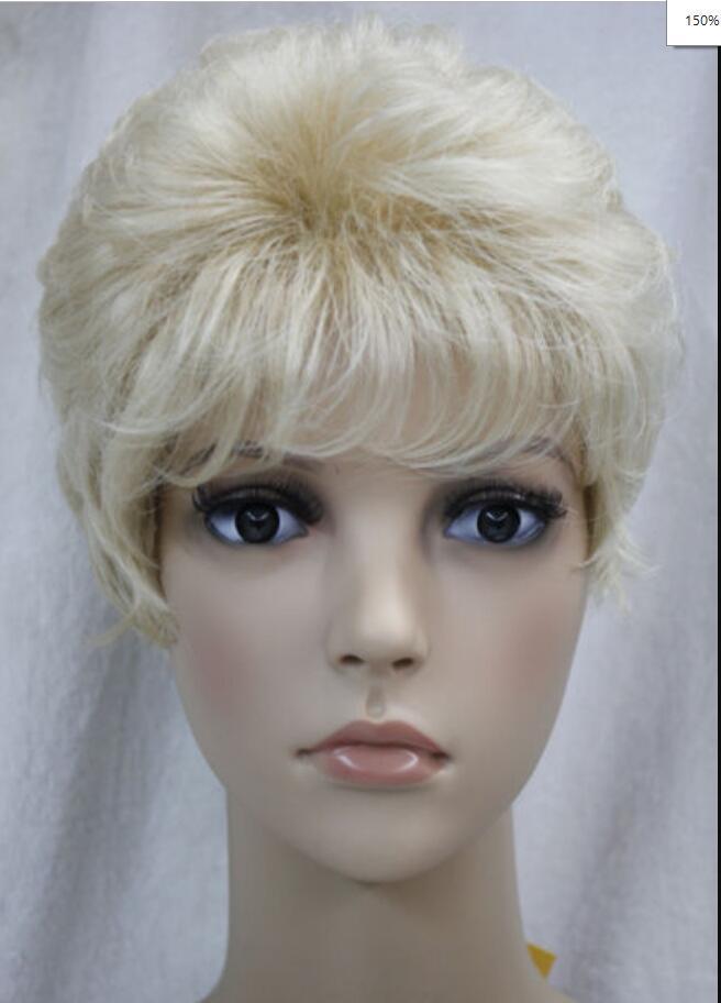 WIG Blond Clair Mixte Femmes Courtes Dames Hivision Synthétique Perruque Complète Hivision
