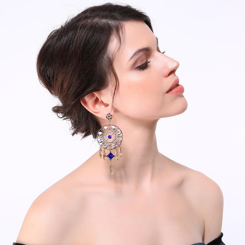 Промышленность Аксессуары Ring Геометрическая Алмазный кисточкой кулон серьги стержня женщин европейского и американского стиля серьги Этнические Темперамент