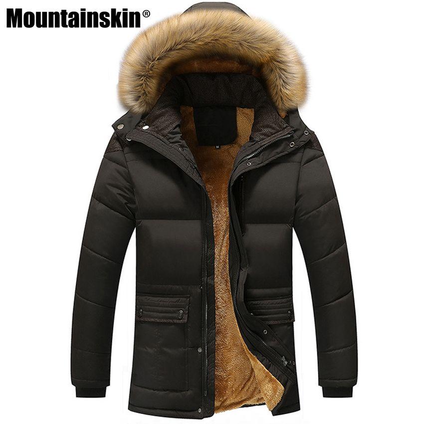 Mountainskin Winter Herren Jacken Dickes Fleece 5XL Pelzkragen Kapuzen Herren Mäntel Freizeitjacke Herren Oberbekleidung Winddicht SA390
