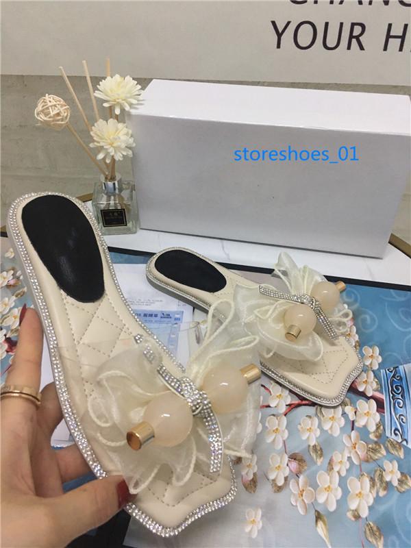 New Xshfbcl 2020 Woman Summer Sandals Rivets big bowknot Flip Flops Beach Sandalias Flat Jelly Designer Sandalsxshfbcl